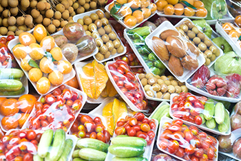 Produce in plastic